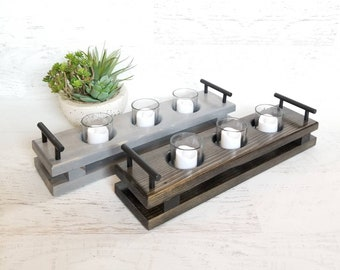 Wood Candle Tray || Wood Candle Holder, Rustic Candle Holder, Wedding Centerpiece, Mantle Decor, Candle Tray, Cabin Decor