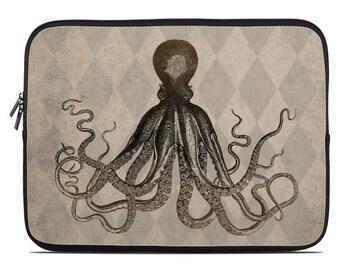 Octopus laptop case, laptop cover, kraken laptop sleeve, tablet sleeve, gift for him, tablet case, to fit 10, 13, 15, 17 inch