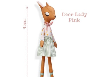 DEER LADY - Plushie Stuffed Toy - Deer Softie for Girl - Woodland Animal Doll - rag doll