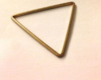 10 pieces of cut raw brass tube outline charm in triangle geometric shape deco 40x1.5 mm