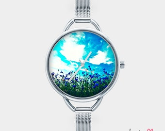 Watch with graphic PAINTED CORNFLOWERS