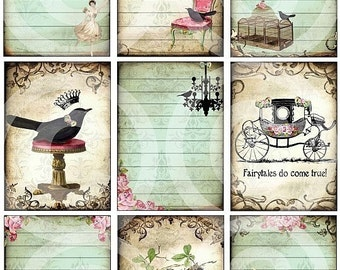 ViNTaGe NoTeS DIGITAL collage sheet U-PRINT black bird Cinderella Fairytale Carriage Chandelier Dancers Ballet altered art scrapbooking papers handmade greeting card supplies journals atc backgrounds journals hang tags sh63