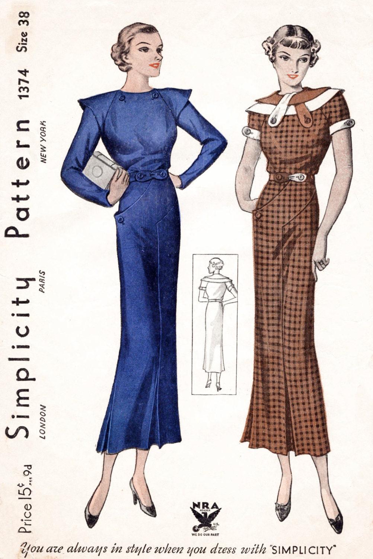 1930s dress 2 styles fitted kick pleat skirt tab collar description beautiful 1930s day dress pattern jeuxipadfo Choice Image