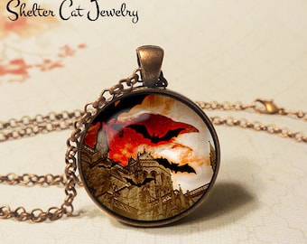 "Bats Flying Through Red Night Necklace - 1-1/4"" Circle Pendant or Key Ring - Wearable Art Photo Halloween Haunted CastleTrick Or Treat Scary"