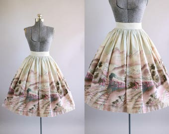 Vintage 1950s Skirt / 50s Cotton Skirt / Pink Scenic Train Novelty Border Print Skirt S