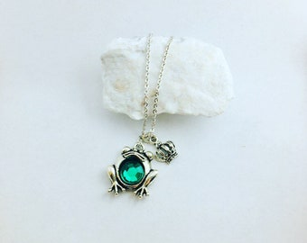 Frog Prince Charm Necklace - Silver Gem 2 charm pc set