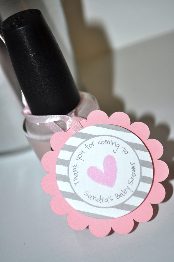 Girls Baby Shower Favor Tags Pink And Gray Thank You Tags