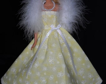 3 Piece Outfit Barbie Doll Dress Handmade Yellow with Butterflys and Lace Gown with Boa and Necklace