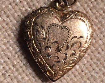G.F. Vintage Heart Locket Etched Heart Motif