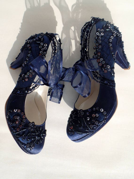 Wedding shoes navy blue satin embroidered bridal shoes with wedding shoes navy blue satin embroidered bridal shoes with low heels junglespirit Images