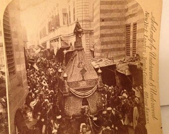 ON SALE The Holy Carpet Parade Cairo Egypt Mecca Vintage Old Early 1900's Stereoview Stereo Card