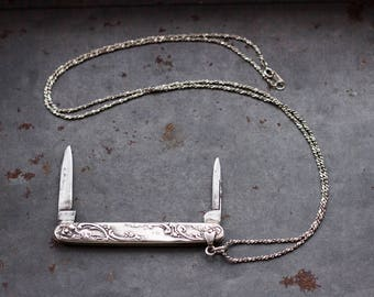 Victorian Penknife Necklace - Sterling Silver antique Pocket Knife Pendant and Chain Chain