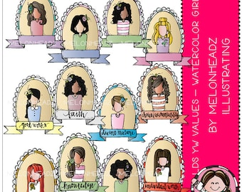 Young Women Values clip art - Watercolor Girls