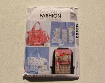 McCalls 4403 - Diaper Nursery Bag and Car Organizer Pattern - Toiletry Bag - Contrasting Fabrics, Trims - Uncut Factory Folds- MSRP 15.50