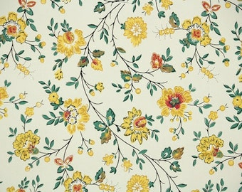 1940s Vintage Wallpaper by the Yard - Floral Wallpaper with Yellow and Green Chintz Flower Design on White