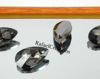 2 x Swarovski Pendant Silver Night 6106 Genuine Crystal Pear  Teardrop 16 22 mm Necklace Findings Loose Bead Earring findings Gray