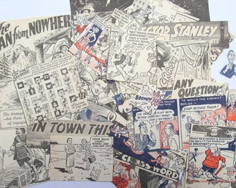 1950s vintage book clippings: pack of 50 vintage paper pieces from books and annuals. Embellishments for scrapbooks card making EP762