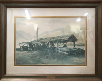 "Russell May ""Old Sawmill"" Print, Framed and Matted, Signed and Numbered"