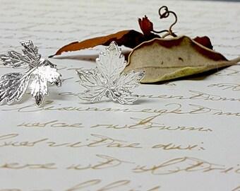 Silver Leaf Earrings, Leaf Stud Earrings, Silver Jewelry, Autumn Jewelry, Autumn Weddings, Silver Wedding Earrings, Autumn Bridal Jewelry