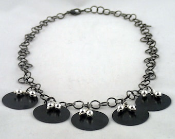 """Disco Girl Necklace - 18"""" handmade chain necklace with Vintaj arte metal pendants and silver beads."""