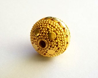 Bali Gold Vermeil over Sterling Silver Round Bead 13.4mm by 14.5mm