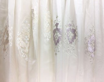 Sheer Fabric - Polyester Patterned Sheer Panel - White/Pink or Champagne/White Sheer  - Scalloped Hem - For Singed Flowers - P02  - 1 Panel