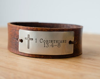 Scripture Cross Faith Custom Text on Minimal Leather Cuff
