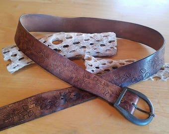 Vintage Brown Flowers Leather  Belt