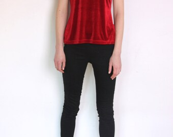 90's red velvet t shirt, red velvet blouse, grunge blouse, red v neck t shirt