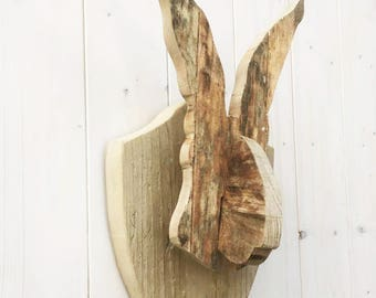 Hare Head Chunky Wooden Wall Mount