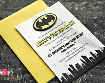 Batman Invitations · A6 FLAT · Birthday Party   Superhero Party   Baby Shower   Comic Books