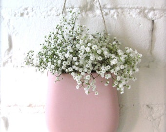 Pre Christmas SALE - Pink Porcelain Hanging Wall Pocket