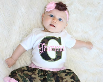 Personalized Baby Girl Clothes Pink Camo Baby Girl Outfit  Camo Skirt Top and Camo Headband Perfect for Twins