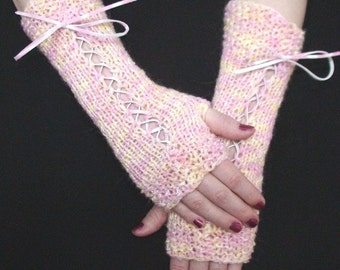 Fingerless Corset Gloves in Yellow and Light Pink  with Suede Ribbons Victorian Style