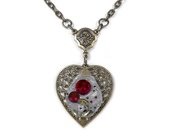 Steampunk Jewelry Necklace Vintage Watch Brass Filigree HEART Red Crystal, Bridesmaids, Anniversary Holiday Gift Women - Steampunk Boutique