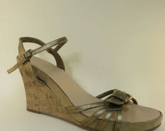 Size 12 Retro Wedge Sandal with Buckle Detail and Ankle Strap Cork Wedge Platform Sandals