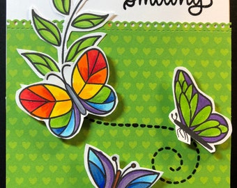hello, hello card, thinking of you, butterfly card, keep smiling