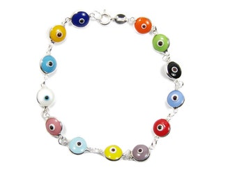 Evil eye Bracelet Beaded Multicolor Sterling Silver Beads Lucky eye bracelet