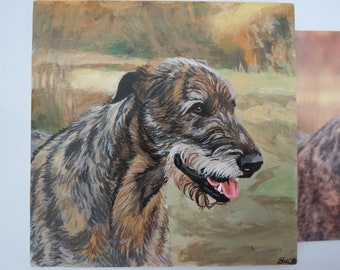 Pet Portrait 6 x 6 inch Ceramic Tiles Hand Painted and Made to Order Any Animal from Photo Irish Wolfhound by Shannon Ivins
