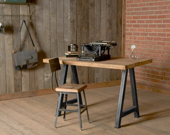 Custom Desk made of reclaimed wood with steel legs in your choice of style and size.