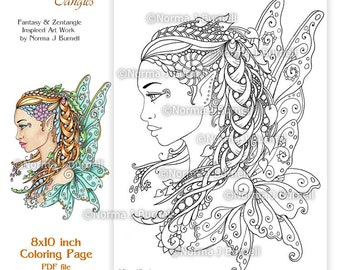 Fairy Tangles Printable Coloring Pages Norma J Burnell Coloring Book sheets Fairies to Color Digital coloring for grownups adult coloring