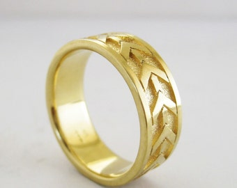 Arrow Wedding Band   Men's 7mm Wedding Ring   Recycled Yellow Gold Ring   Eco friendly Sustainable 14k 18k gold