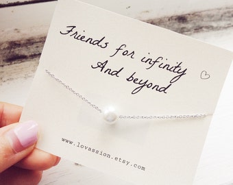 Silver Pearl Necklace, pearl necklace, friendship necklace, friendship quote necklace, best friend necklace, BFF necklace, sorority necklace