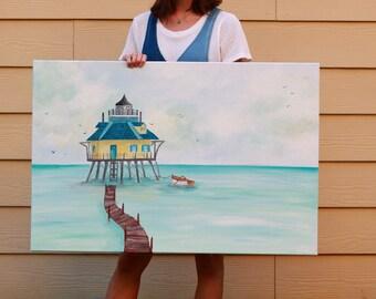 Lighthouse Painting // Beach House Artwork // Ocean Painting