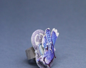 chunky blue magpie ring with silver plated adjustable ring shank