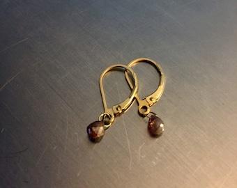 Red Cognac Diamond Briolette Earrings