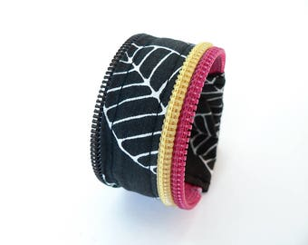 Zipper wristband, black leaf pattern, pink, yellow zip recycled, white, snap - ecofriendly wristband, upcycled