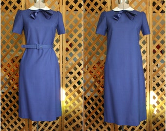 Vintage Womens 80s does 60s Navy Peter Pan Collar Dress by Leslie Fay Petites Medium Retro Pinup Mod Mad Men Style