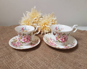 Vintage//Royal Albert//Teacups and dishes//gold edge//Fine bone China made in England//brocant//serving//small and large
