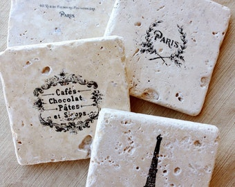 Wine Gift- Wine Decor, Eiffel Tower Decor, French Decor, Eiffel Tower Gift, Stone Coasters, Marble Coasters, Drink Coasters, Tile Coasters